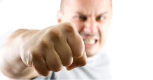 Angry man with fist