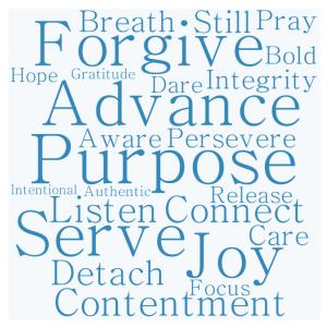 Joy, Serve, Contentment, Connect, Detach, Purpose, Listen, Pray, Integrity, Still, Breath, Persevere, Advance, Care, Aware, Release, Forgive, Dare, Bold, Focus, Gratitude, Forgiveness, Hope, Intentional, Authentic