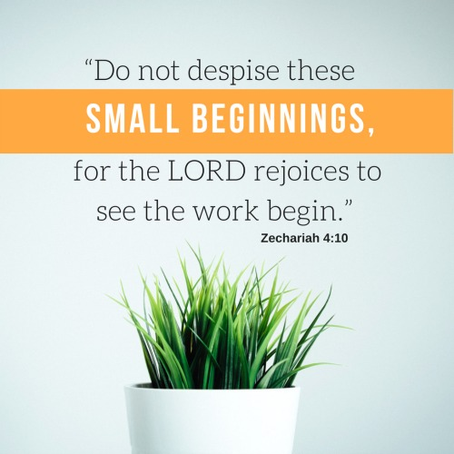 """""""Do not despise these small beginnings, for the LORD rejoices to see the work begin."""""""